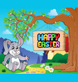 image with easter bunny and sign 4 vector image vector image