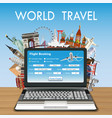 laptop online flight booking with travel landmark vector image vector image