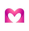 letter m heart logo vector image vector image