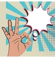Like positive hand sign blue pop art background vector image vector image