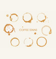 messy grunge coffee liquid stains round shape set vector image