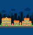 night city with cartoon houses and building vector image