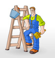 painter painting with ladder vector image vector image
