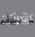 paris skyline silhouette 2 vector image vector image