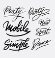 Party and dance hand written typography