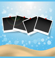 Photo frames with push pins summer presentation vector image