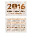 Pocket 2016 Calendar vector image vector image