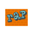 rap on bricks wall icon flat style vector image