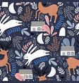 seamless woodland pattern with deer bunny and vector image vector image