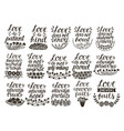 set 15 hand lettering quotes about love from vector image