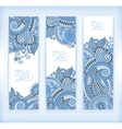 set of blue colour decorative flower template vector image