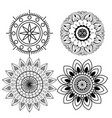 set outline diwali flowers mandalas to seal vector image