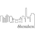 shenzen city one line drawing vector image vector image