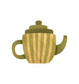 small green teapot with yellow stripes ceramic vector image vector image