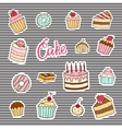 stickers of cakes and sweet desserts vector image vector image