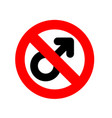 stop men prohibiting red sign ban male feminism vector image vector image
