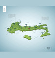 stylized map italy isometric 3d green map with vector image