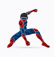 superhero landing action cartoon superhero vector image vector image
