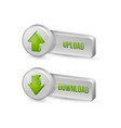 three dimensional download and upload buttons vector image