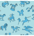 toy horses doodles pattern vector image