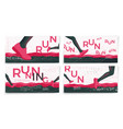 typographic running banners template set vector image vector image
