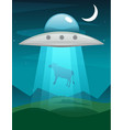 ufo abducts cow of alien invasion vector image