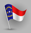waving triangle american state flag new carolina vector image vector image