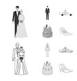 wedding and attributes cartoon flatoutlineblack vector image vector image