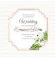Wedding invitation card flamingo tropical leaves vector image vector image