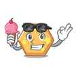with ice cream hexagon character cartoon style vector image