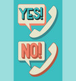 yes and no phone icon with bubble speech vector image