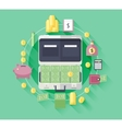 Flat icons of financial and business item vector image