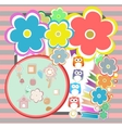 birthday party elements with cute owls and birds vector image