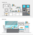 flat line color concept- chemistry and biology lab vector image