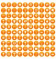 100 awards icons set orange vector image vector image