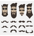 A set of bearded men different shapes of whiskers vector image vector image