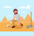 archaeologist cleaning human skull from sandy soil vector image