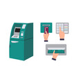 automated teller machine and hand inserting credit vector image