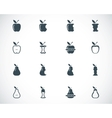 Black apple and pear icons set