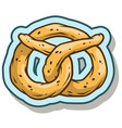 cartoon tasty pretzel sticker icon vector image vector image