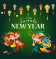 chinese lunar new year lion dance fight lattern on vector image vector image