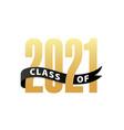 class 2021 gold lettering graduation 3d logo vector image vector image