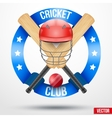 Cricket bats and helmet with ribbons vector image vector image