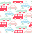 cute colorful buses and cars seamless pattern vector image