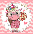 cute unicorn in pink eyeglasses vector image