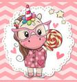 cute unicorn in pink eyeglasses vector image vector image