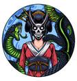 geisha head mascot logo with snake vector image