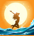 girl running on beach vector image vector image