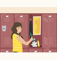 girl schoolgirl about school locker vector image vector image