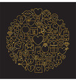Gold and Black Happy Valentine Day Line Icons Set vector image vector image